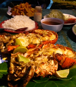 Lobster lunch at Playa Coson