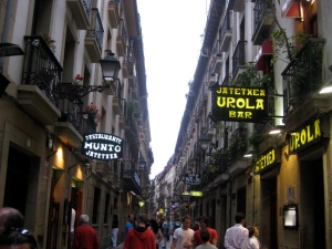 Tapas bars along the historic streets of San Sebastian