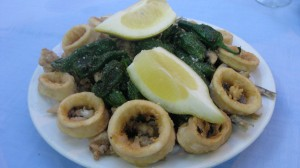 Calamari and green peppers